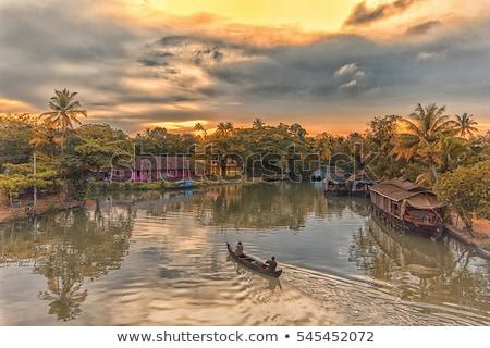erőd · tó · India · naplemente · tájkép · kastély - stock fotó © johnnychaos