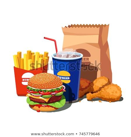 Fast-food ayarlamak yalıtılmış beyaz vektör Stok fotoğraf © czaroot