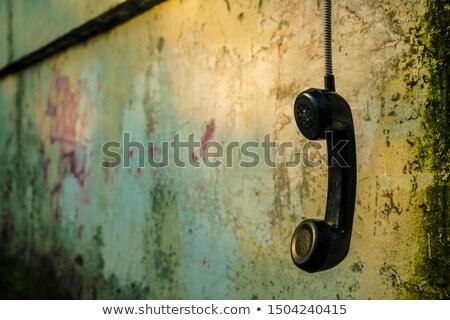 zwarte · telefoon · koord · geïsoleerd · witte · xxl - stockfoto © devon