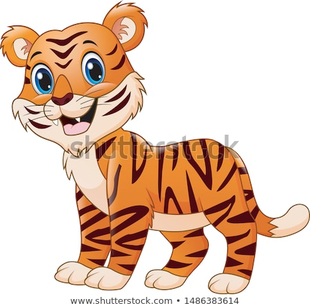 smiling cartoon tiger mascot vector graphic stock photo © chromaco