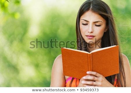 ernstig · vrouw · boek · heldere · foto - stockfoto © dolgachov