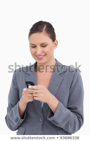 счастливым · деловой · женщины · чтение · sms · улыбаясь · за · пределами - Сток-фото © wavebreak_media