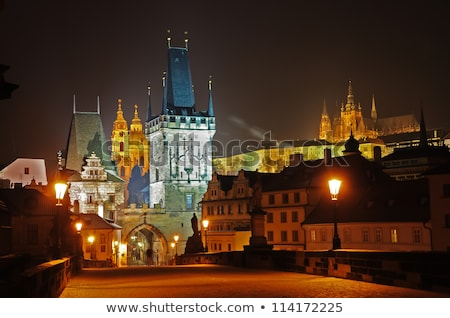Old market square in Prague at night Stock photo © AndreyKr