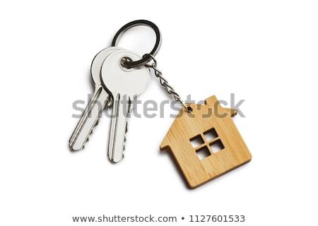 Zdjęcia stock: Domu · klucze · biały · dom · tle · bezpieczeństwa · pierścień