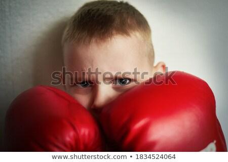 мальчика боксерская перчатка ребенка портрет Живопись Kid Сток-фото © zzve