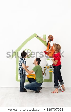 Stock photo: Couple with painting utensils.