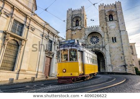 трамвай · узкий · улице · Лиссабон · желтый · район - Сток-фото © tannjuska