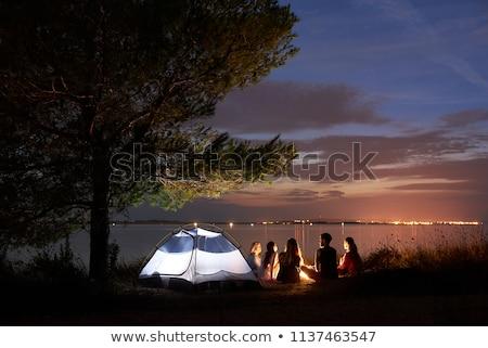 familie · snacks · buiten · tent · camping · boom - stockfoto © gigra