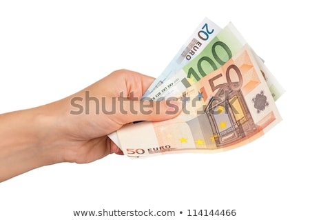 Pénz Euro kéz izolált fehér papír Stock fotó © oly5