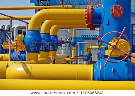 Red pipes with valves and manometers Stock photo © 5xinc