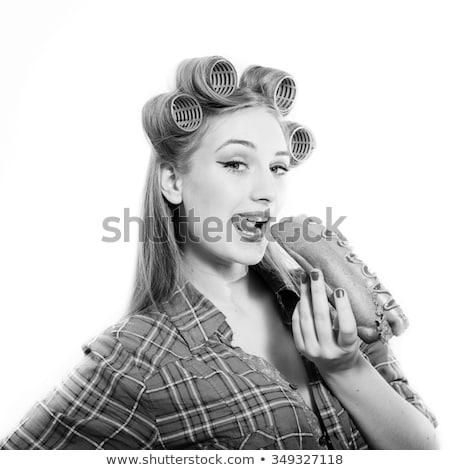 drôle · beauté · femme · cheveux · regarder · pense - photo stock © maros_b