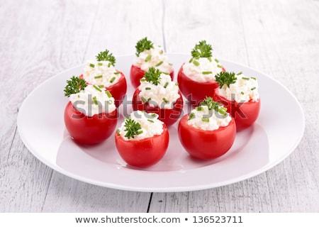 Tomaat garnering kaas zomer salade plantaardige Stockfoto © M-studio