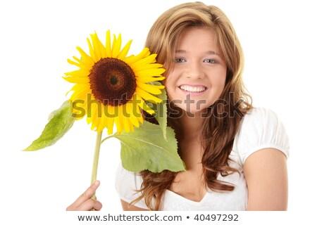szépség · barna · hajú · köteg · virágok · lány · tavasz - stock fotó © nejron