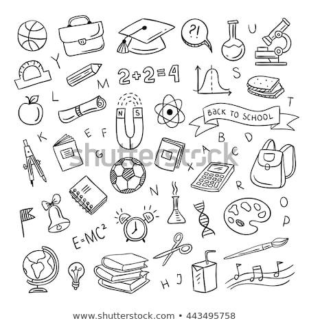 School doodle terug naar school ingesteld kinderen klok Stockfoto © zsooofija