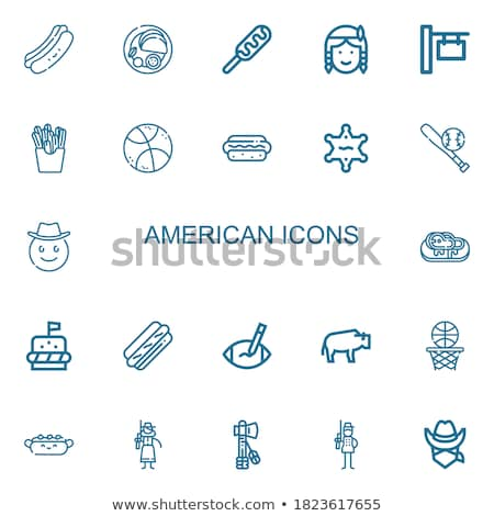 black silhouette set icons objects american indians vector illus Stock photo © konturvid
