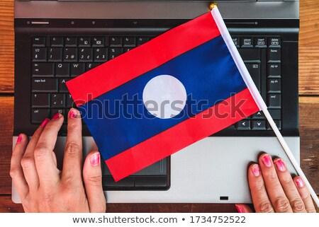 Handen werken laptop Laos tonen scherm Stockfoto © michaklootwijk