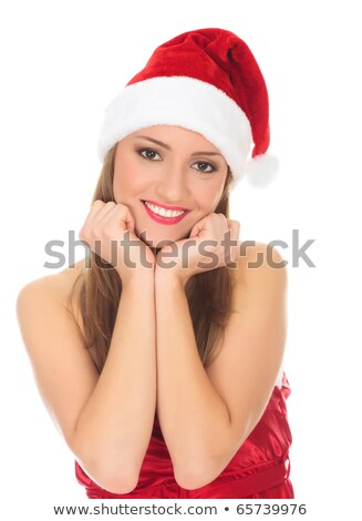 Picture of pretty christmas girl in red dress and santa hat, smi Stock photo © Nobilior