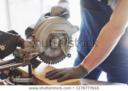 mécanicien · circulaire · vu · lunettes · travail · garage - photo stock © oleksandro