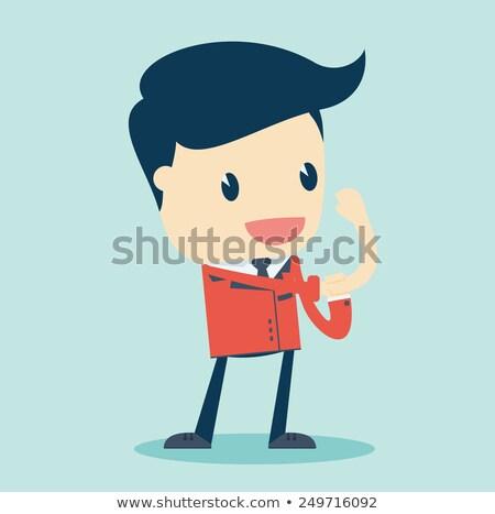 kırmızı · takım · elbise · işadamı · poz · iş · adam - stok fotoğraf © tashatuvango
