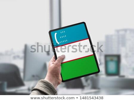 Tabletta Üzbegisztán zászló kép renderelt mű Stock fotó © tang90246