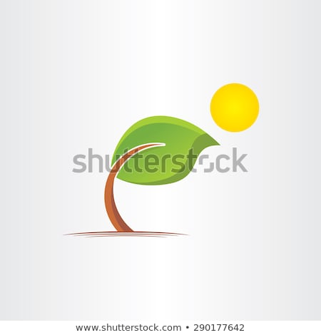 3d eco bended tree and sun icon Stock photo © blaskorizov