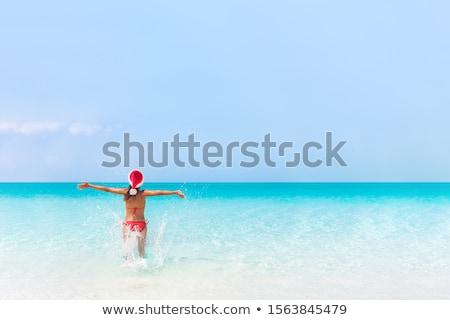 Christmas beach woman in santa hat in Bikini stock photo © Maridav