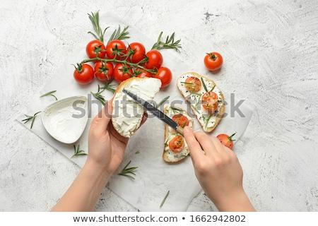 Frescos queso hortalizas ensalada cucharas madera Foto stock © Digifoodstock