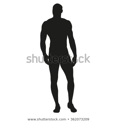 Silhouette of a fitness man Stock photo © deandrobot