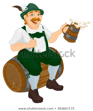german man sits on an oak barrel and holding wooden beer mug bavarian fat man celebrating oktoberfe stock photo © orensila