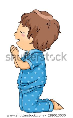 Kid Boy Pray Pajama Stock photo © lenm