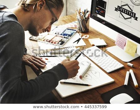Stockfoto: Ontwerper · werkruimte · verticaal · afbeelding · moderne · papier