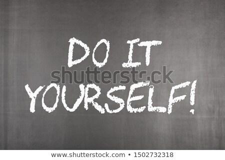 Csináld magad írott iskolatábla felirat ír szerszámok Stock fotó © Zerbor