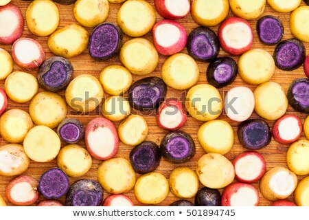 Tam kare patates dilim kırmızı sarı mor Stok fotoğraf © ozgur