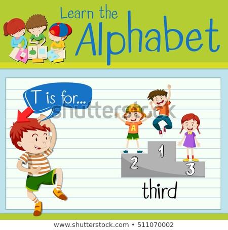 T betű harmadik illusztráció gyerekek gyermek diák Stock fotó © bluering