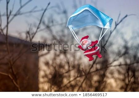 Дед Мороз парашютом иллюстрация снега зима смешные Сток-фото © adrenalina