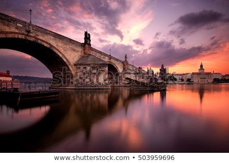Statue silhouette at Charles bridge. Prague, Czech Republic Stock photo © Kirill_M