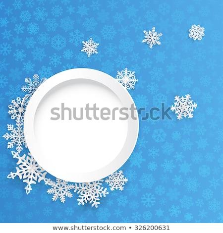 çerçeve küçük mavi kar taneleri etrafında Stok fotoğraf © SwillSkill