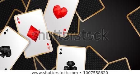 Kumarhane iskambil kartları afişler ayarlamak kalp kırmızı Stok fotoğraf © SArts