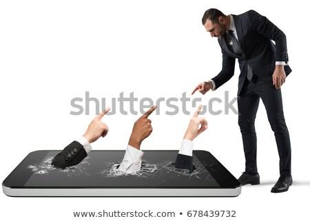megfélemlítés · piros · pecsét · fehér · számítógép · főiskola - stock fotó © alphaspirit
