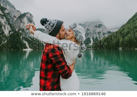 fiatal · pér · kockás · szeretet · ül · szórakozás · nő - stock fotó © tekso