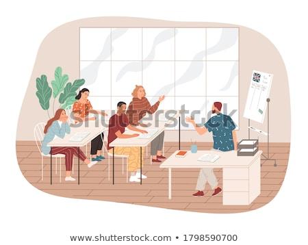 school teacher writing on classroom whiteboard stock photo © stevanovicigor