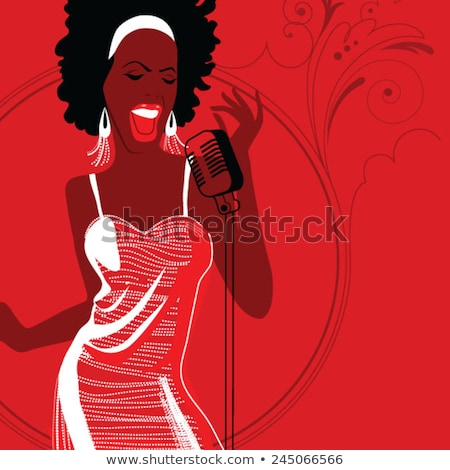 gyönyörű · fekete · énekes · színpad · mikrofon · lány - stock fotó © wavebreak_media