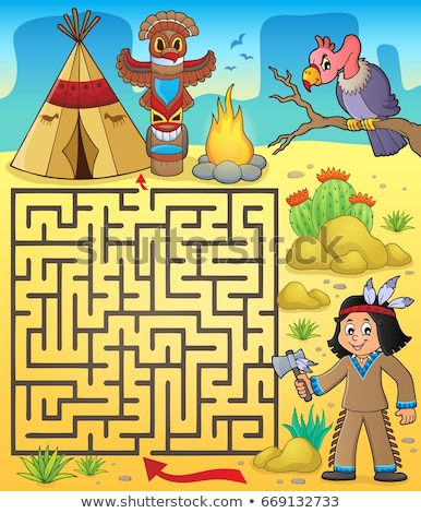 Maze 3 with Native American boy Stock photo © clairev