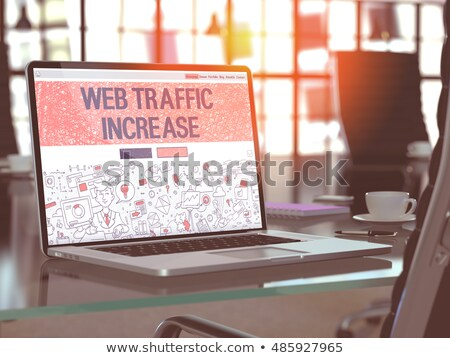Content Services on Laptop in Modern Workplace Background. 3D. Stock photo © tashatuvango