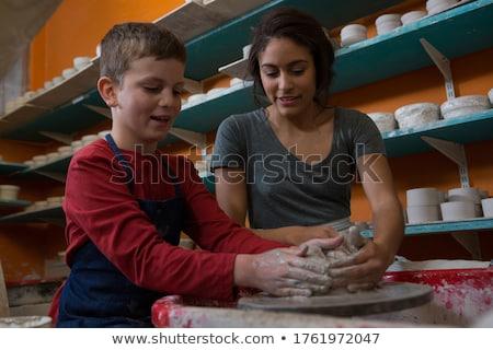 Női fiú agyag műhely telefon billentyűzet Stock fotó © wavebreak_media