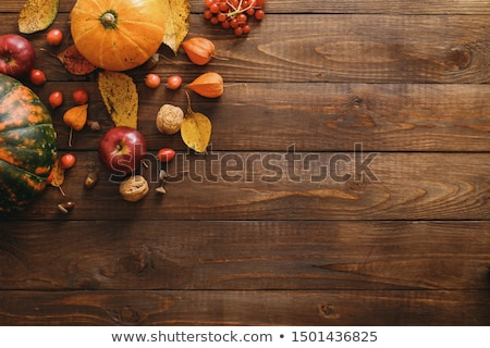 Fallen red apples with leaves. Top view Stock photo © Virgin