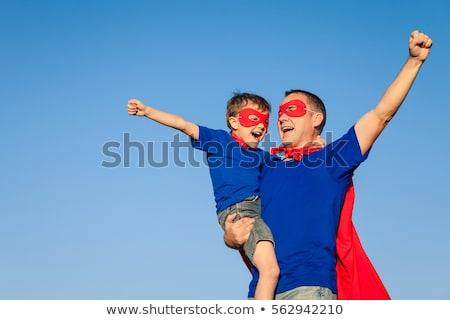Сток-фото: отцом · сына · superhero · очистки · полу · дома · человека