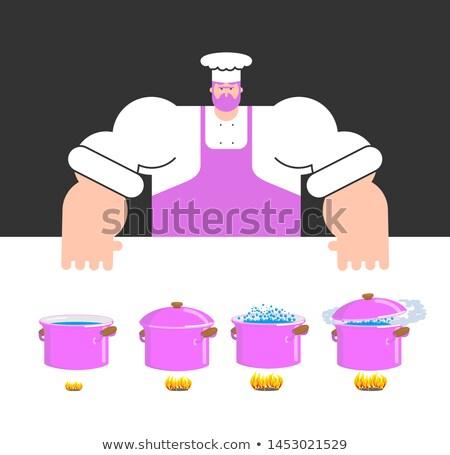 приготовления инструкция шаблон повар кастрюля шаг Сток-фото © popaukropa