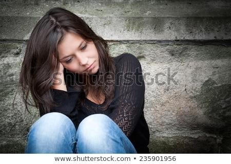 портрет недовольный молодые плащ Сток-фото © deandrobot