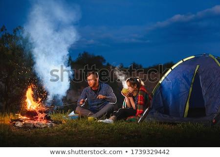 Lány pihen sátor gyermek jókedv portré Stock fotó © IS2